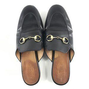 Gucci Women's Princetown Leather Mules Black Sz 36